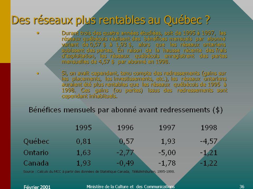 Février 2001 Ministère de la Culture et des Communications36 Des réseaux plus rentables au Québec .