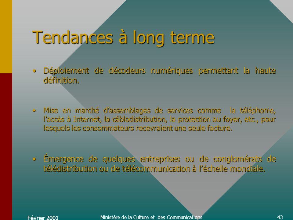 Février 2001 Ministère de la Culture et des Communications43 Tendances à long terme Déploiement de décodeurs numériques permettant la haute définition.Déploiement de décodeurs numériques permettant la haute définition.