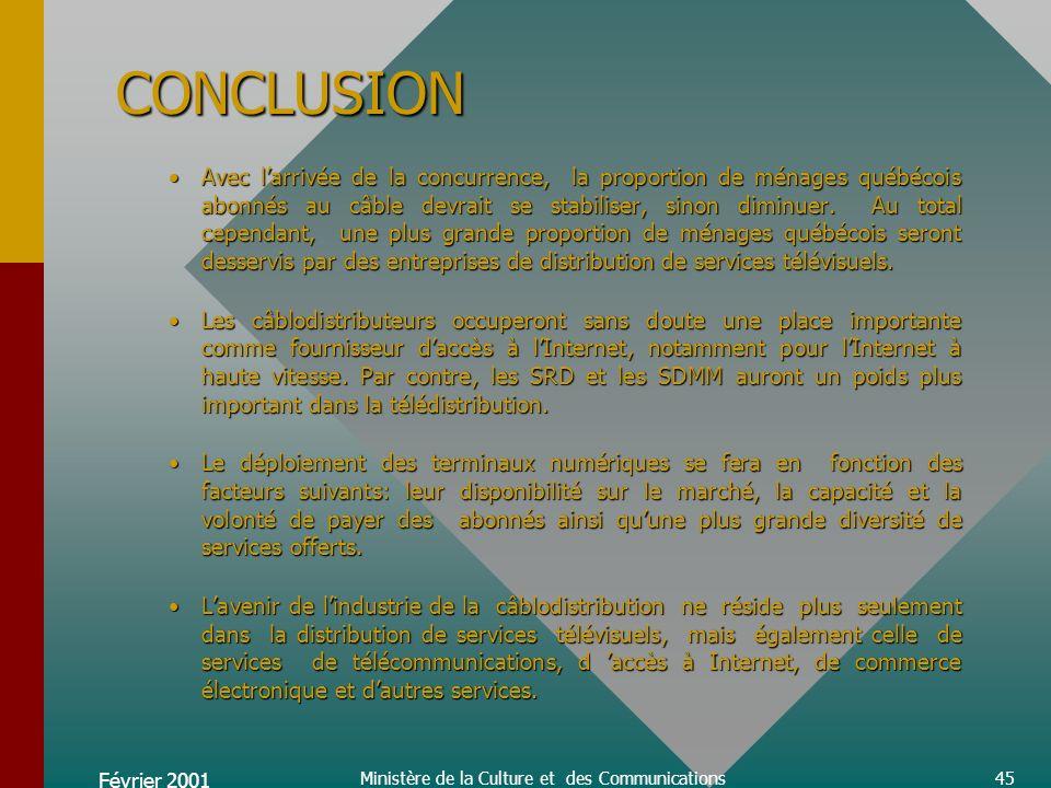 Février 2001 Ministère de la Culture et des Communications45 CONCLUSION Avec larrivée de la concurrence, la proportion de ménages québécois abonnés au câble devrait se stabiliser, sinon diminuer.