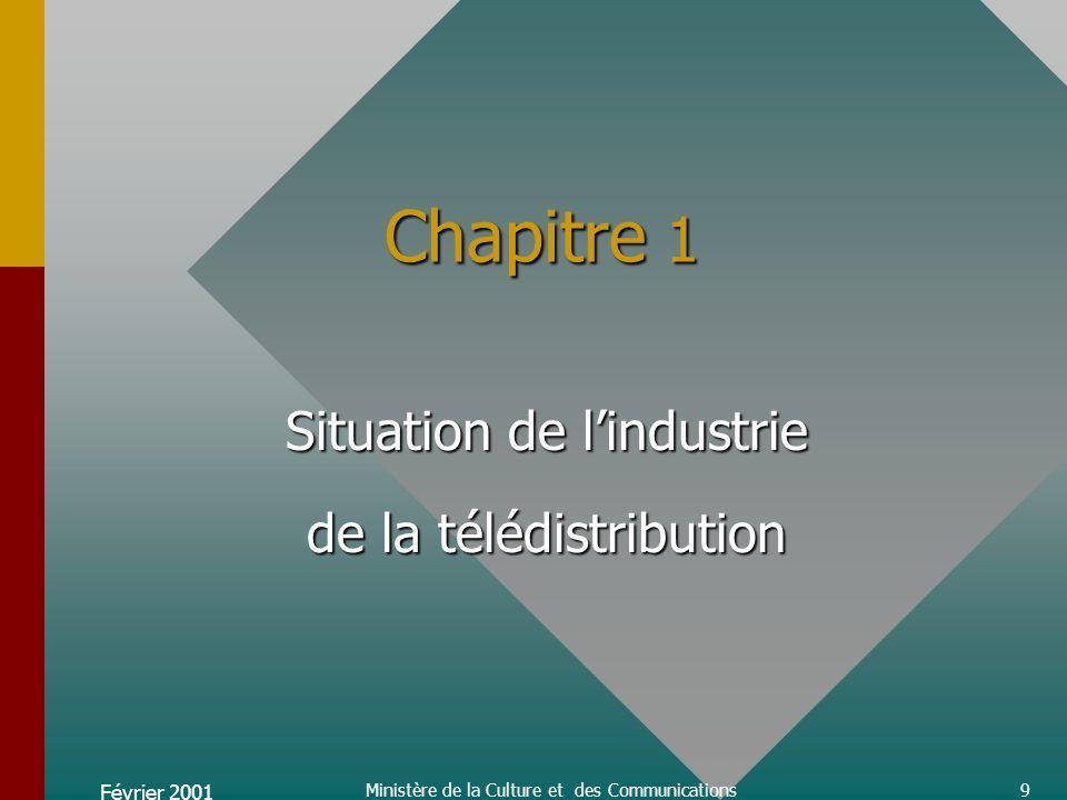 Février 2001 Ministère de la Culture et des Communications9 Chapitre 1 Situation de lindustrie de la télédistribution