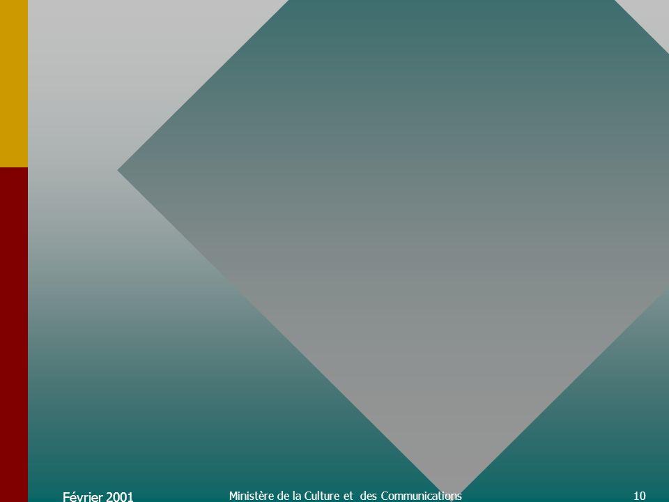 Février 2001 Ministère de la Culture et des Communications11 Abonnement à la télédistributionPlus de 2 millions de ménages québécois sont abonnés à la télédistribution en 1998.Les abonnés québécois représentent 24,9 % des abonnés au Canada cette année-là.Depuis 1995, cest au Québec que la croissance annuelle moyenne du nombre dabonnés est la plus forte, soit 3,4%.