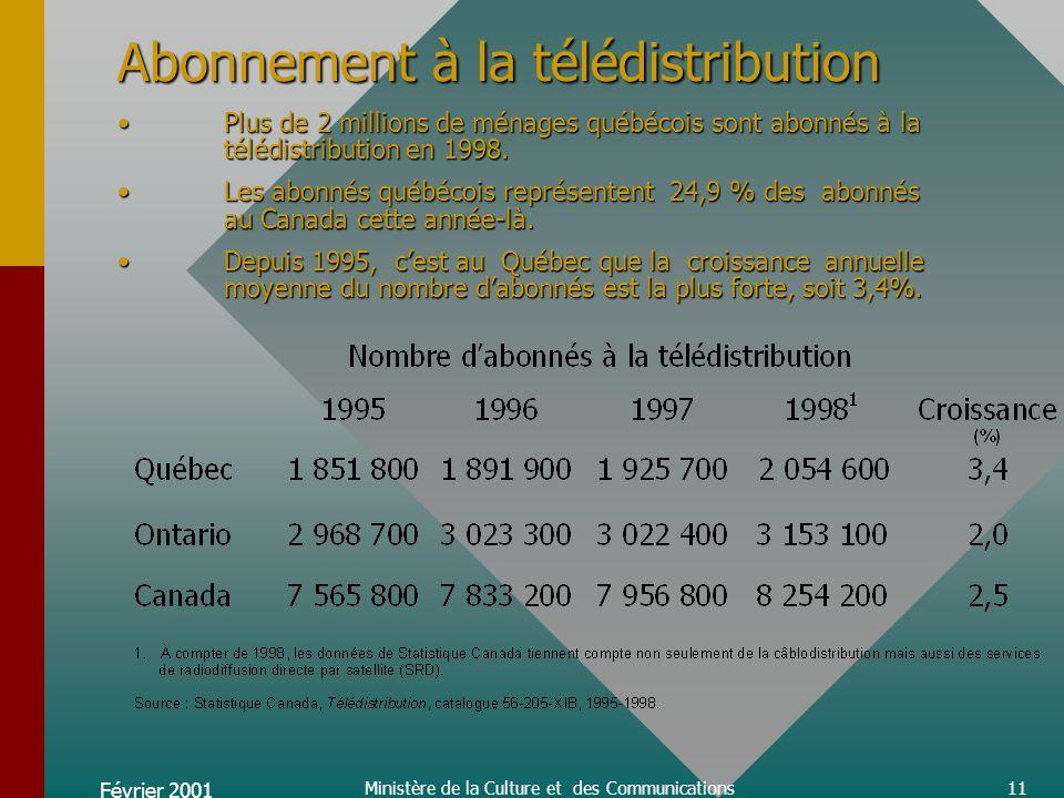 Février 2001 Ministère de la Culture et des Communications32 Des dépenses totales atteignant 830 M$Elles se sont accrues rapidement pour les réseaux québécois, notamment de 1997 à 1998 où elles augmentent de 217 M$.
