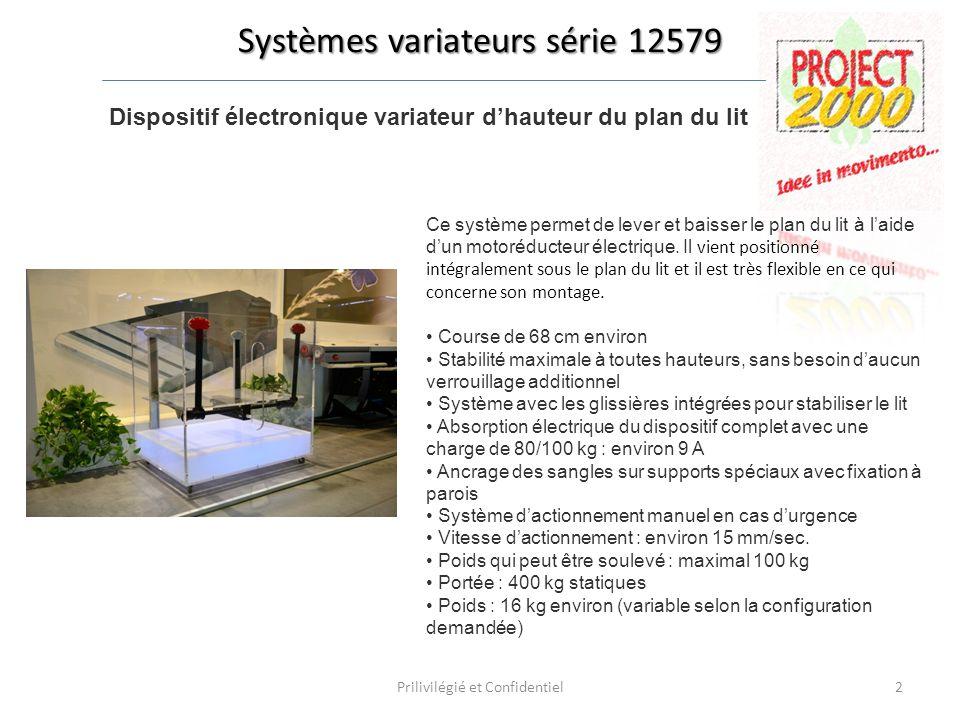 Systèmes variateurs série 12579 Dispositif électronique variateur dhauteur du plan du lit Ce système permet de lever et baisser le plan du lit à laide dun motoréducteur électrique.