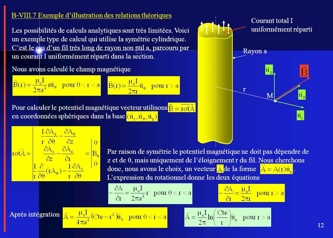 12 B-VIII.7 Exemple dillustration des relations théoriques Les possibilités de calculs analytiques sont très limitées. Voici un exemple type de calcul