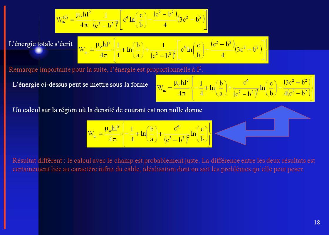 18 Lénergie totale sécrit Remarque importante pour la suite, lénergie est proportionnelle à I 2. Lénergie ci-dessus peut se mettre sous la forme Un ca