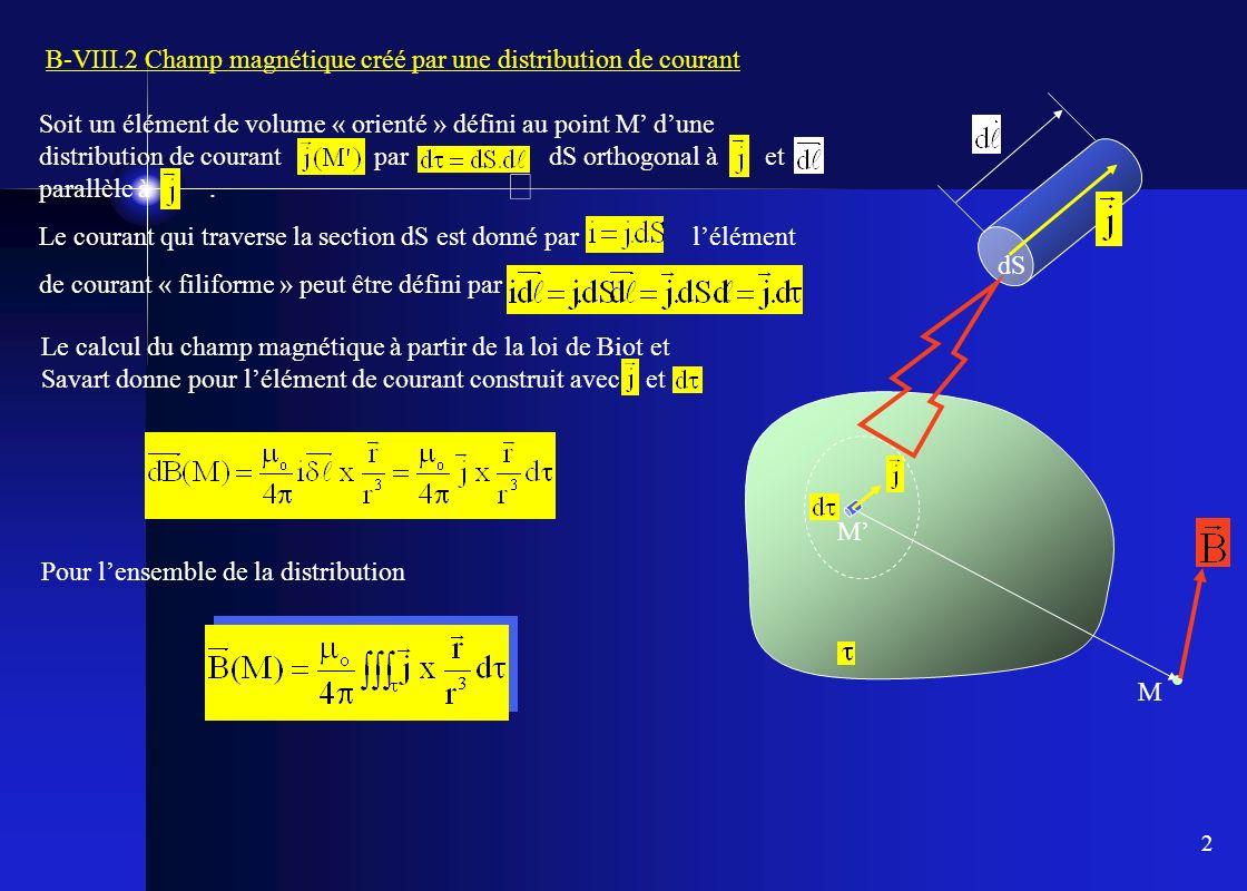 2 Soit un élément de volume « orienté » défini au point M dune distribution de courant par dS orthogonal à et parallèle à. Le courant qui traverse la