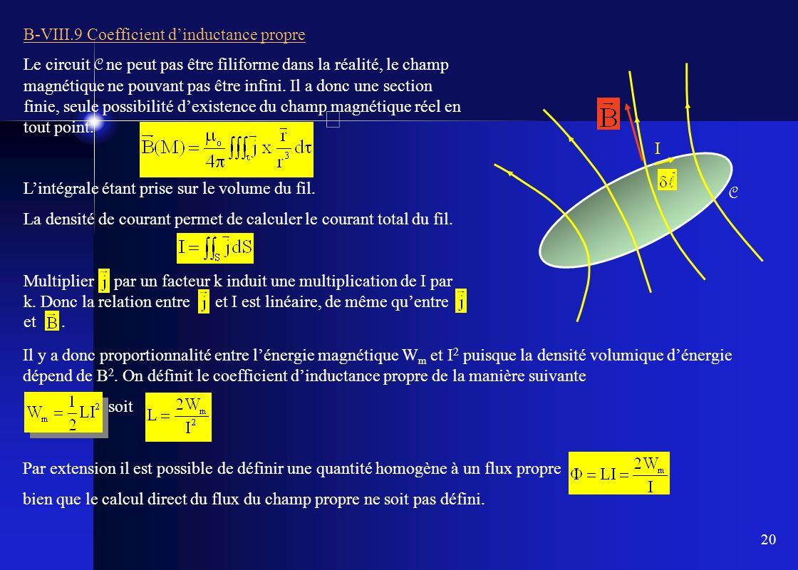 20 B-VIII.9 Coefficient dinductance propre Le circuit C ne peut pas être filiforme dans la réalité, le champ magnétique ne pouvant pas être infini. Il