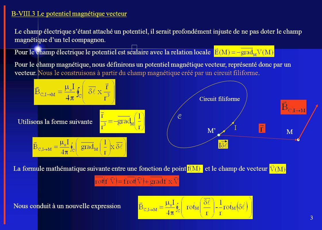 3 B-VIII.3 Le potentiel magnétique vecteur Le champ électrique sétant attaché un potentiel, il serait profondément injuste de ne pas doter le champ ma