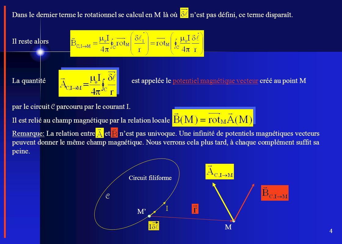 4 Dans le dernier terme le rotationnel se calcul en M là où nest pas défini, ce terme disparaît. Il reste alors La quantité est appelée le potentiel m