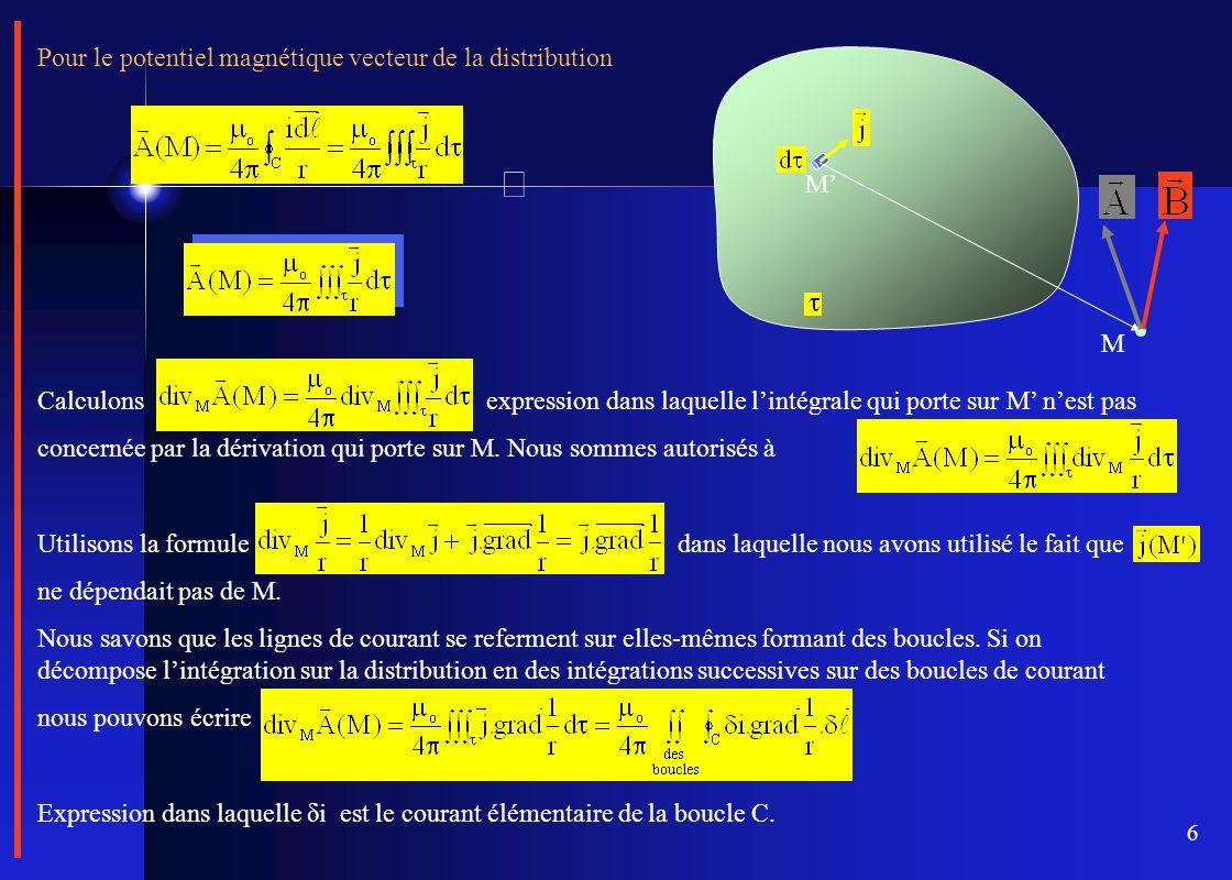 6 Pour le potentiel magnétique vecteur de la distribution M M Calculons expression dans laquelle lintégrale qui porte sur M nest pas concernée par la