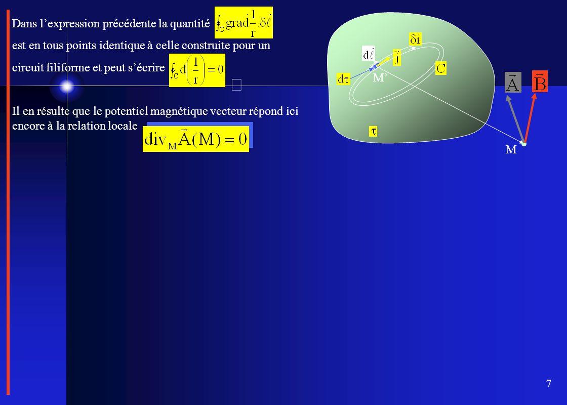 7 M M Dans lexpression précédente la quantité est en tous points identique à celle construite pour un circuit filiforme et peut sécrire Il en résulte