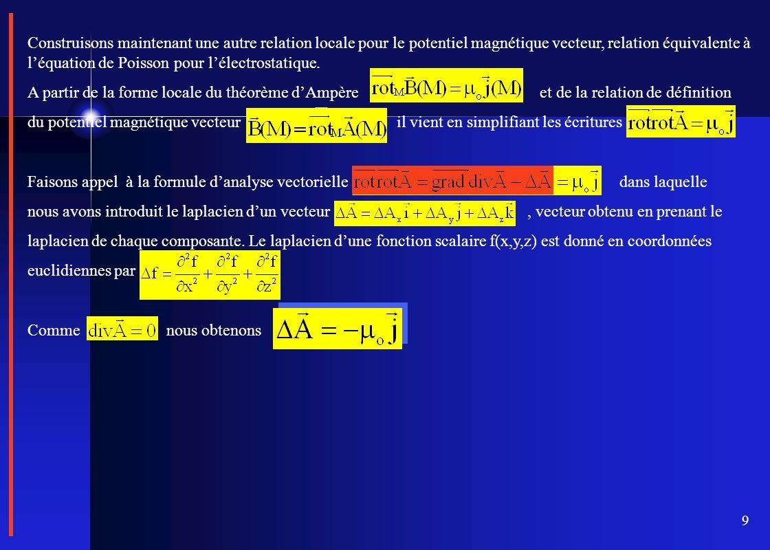 9 Construisons maintenant une autre relation locale pour le potentiel magnétique vecteur, relation équivalente à léquation de Poisson pour lélectrosta
