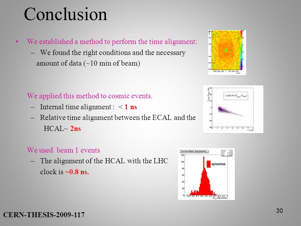 30 Conclusion We established a method to perform the time alignment: –We found the right conditions and the necessary amount of data (~10 min of beam)