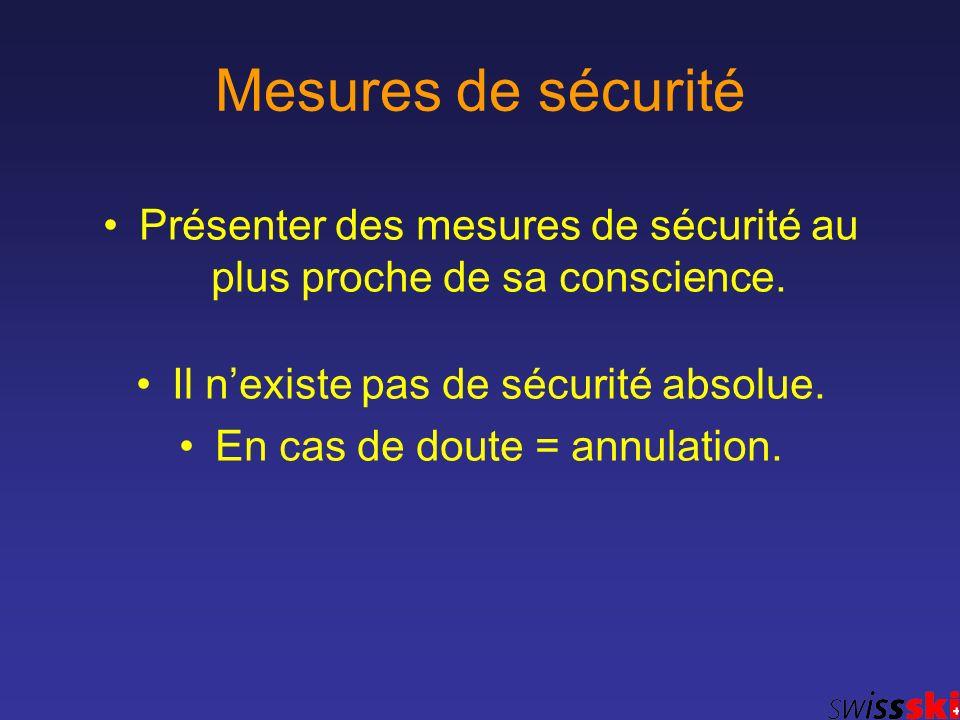 Mesures de sécurité Présenter des mesures de sécurité au plus proche de sa conscience. Il nexiste pas de sécurité absolue. En cas de doute = annulatio