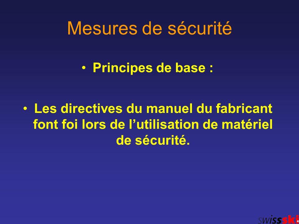 Mesures de sécurité Principes de base : Les directives du manuel du fabricant font foi lors de lutilisation de matériel de sécurité.