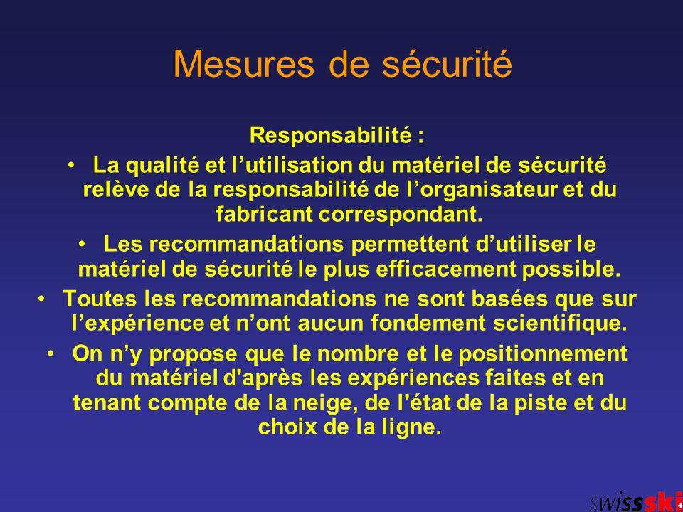 Mesures de sécurité Responsabilité : La qualité et lutilisation du matériel de sécurité relève de la responsabilité de lorganisateur et du fabricant c