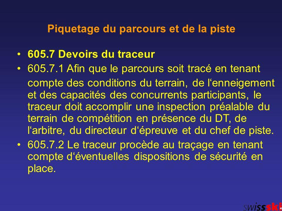 605.7 Devoirs du traceur 605.7.1 Afin que le parcours soit tracé en tenant compte des conditions du terrain, de lenneigement et des capacités des conc