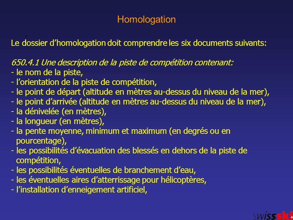 Homologation - Le dossier dhomologation doit comprendre les six documents suivants: 650.4.1 Une description de la piste de compétition contenant: - le