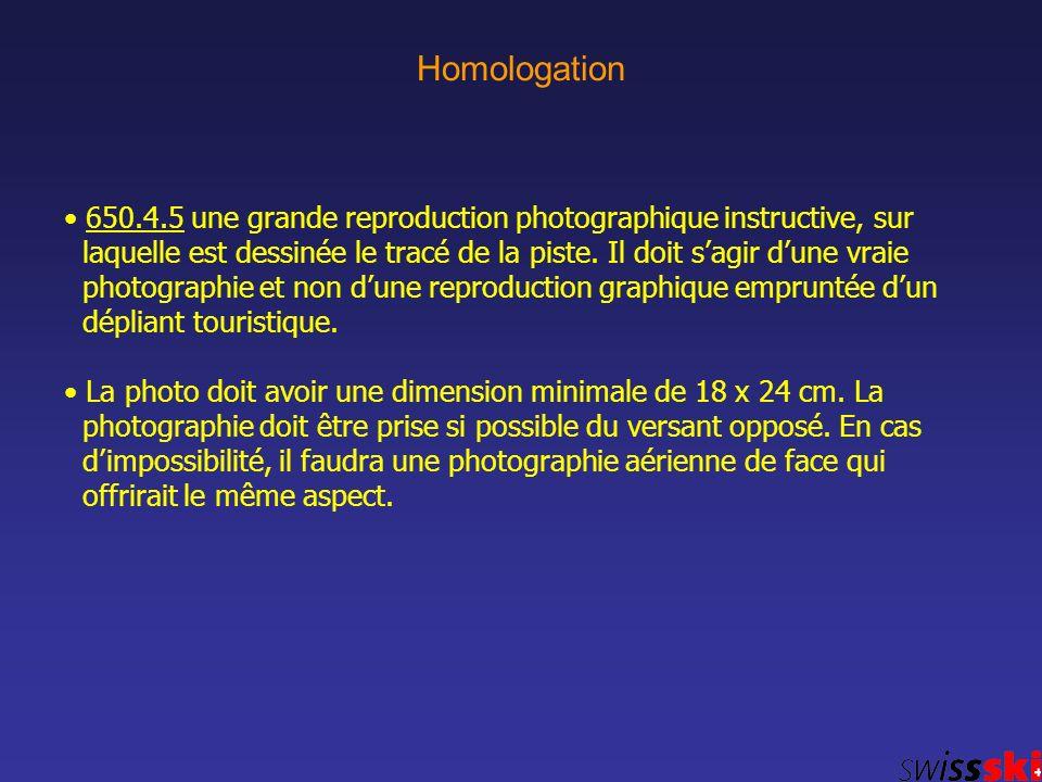 Homologation 650.4.5 une grande reproduction photographique instructive, sur laquelle est dessinée le tracé de la piste. Il doit sagir dune vraie phot