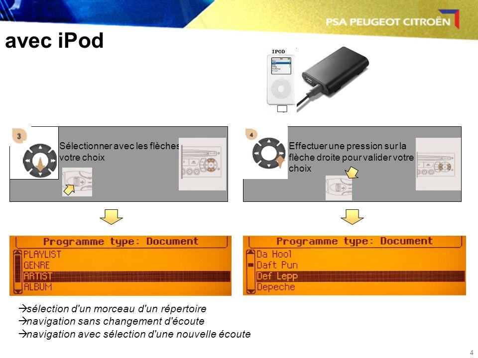 4 avec iPod Sélectionner avec les flèches votre choix Effectuer une pression sur la flèche droite pour valider votre choix sélection d un morceau d un répertoire navigation sans changement d écoute navigation avec sélection d une nouvelle écoute
