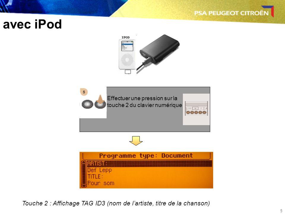 5 avec iPod Effectuer une pression sur la touche 2 du clavier numérique Touche 2 : Affichage TAG ID3 (nom de lartiste, titre de la chanson)