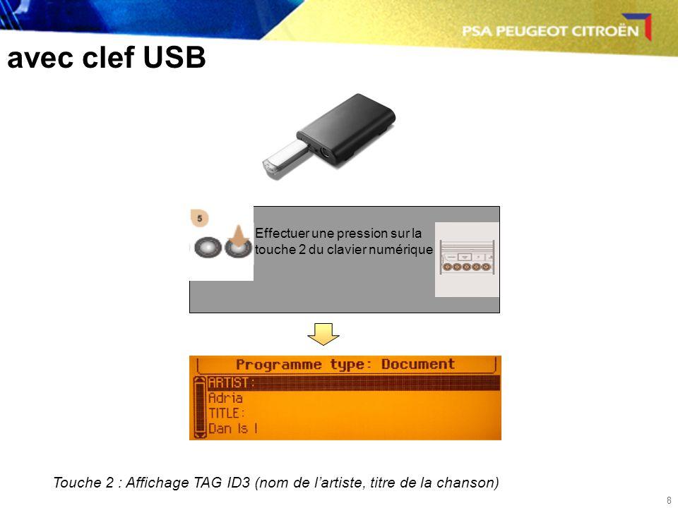 8 avec clef USB Effectuer une pression sur la touche 2 du clavier numérique Touche 2 : Affichage TAG ID3 (nom de lartiste, titre de la chanson)