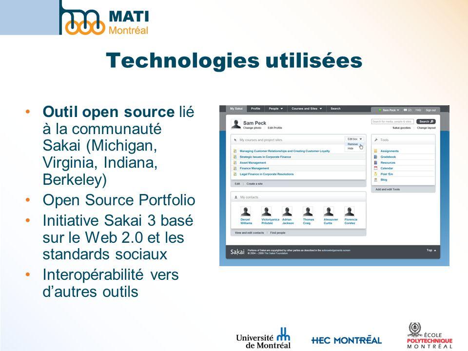 Technologies utilisées Outil open source lié à la communauté Sakai (Michigan, Virginia, Indiana, Berkeley) Open Source Portfolio Initiative Sakai 3 basé sur le Web 2.0 et les standards sociaux Interopérabilité vers dautres outils