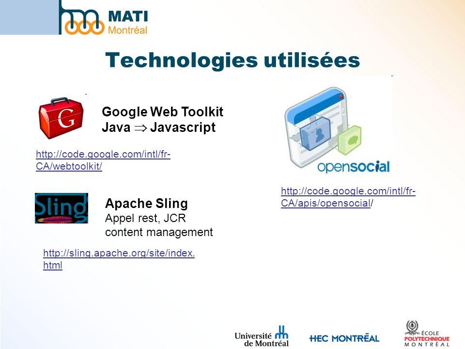 Technologies utilisées http://code.google.com/intl/fr- CA/apis/opensocial/ http://code.google.com/intl/fr- CA/webtoolkit/ Google Web Toolkit Java Javascript Apache Sling Appel rest, JCR content management http://sling.apache.org/site/index.