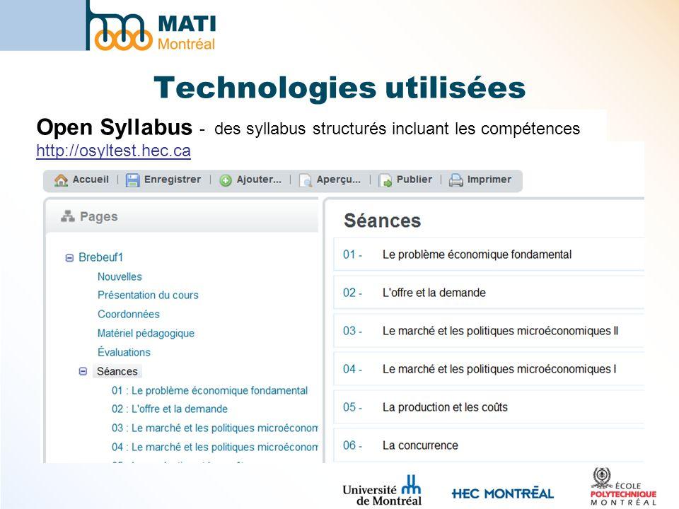 Technologies utilisées Open Syllabus - des syllabus structurés incluant les compétences http://osyltest.hec.ca