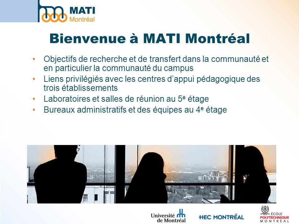 Bienvenue à MATI Montréal Objectifs de recherche et de transfert dans la communauté et en particulier la communauté du campus Liens privilégiés avec les centres dappui pédagogique des trois établissements Laboratoires et salles de réunion au 5 e étage Bureaux administratifs et des équipes au 4 e étage