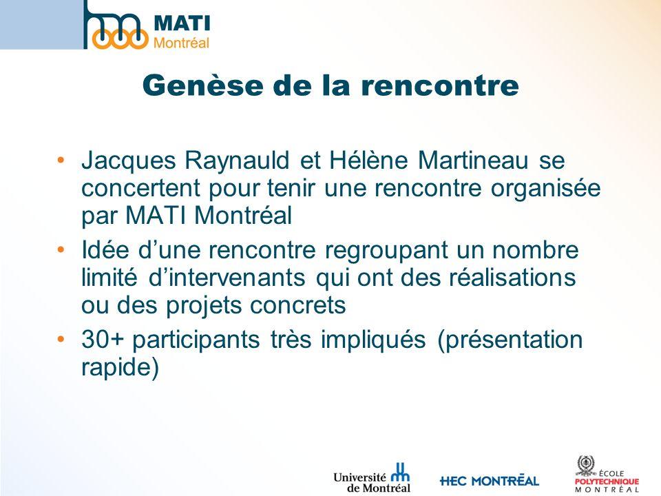 Genèse de la rencontre Jacques Raynauld et Hélène Martineau se concertent pour tenir une rencontre organisée par MATI Montréal Idée dune rencontre regroupant un nombre limité dintervenants qui ont des réalisations ou des projets concrets 30+ participants très impliqués (présentation rapide)