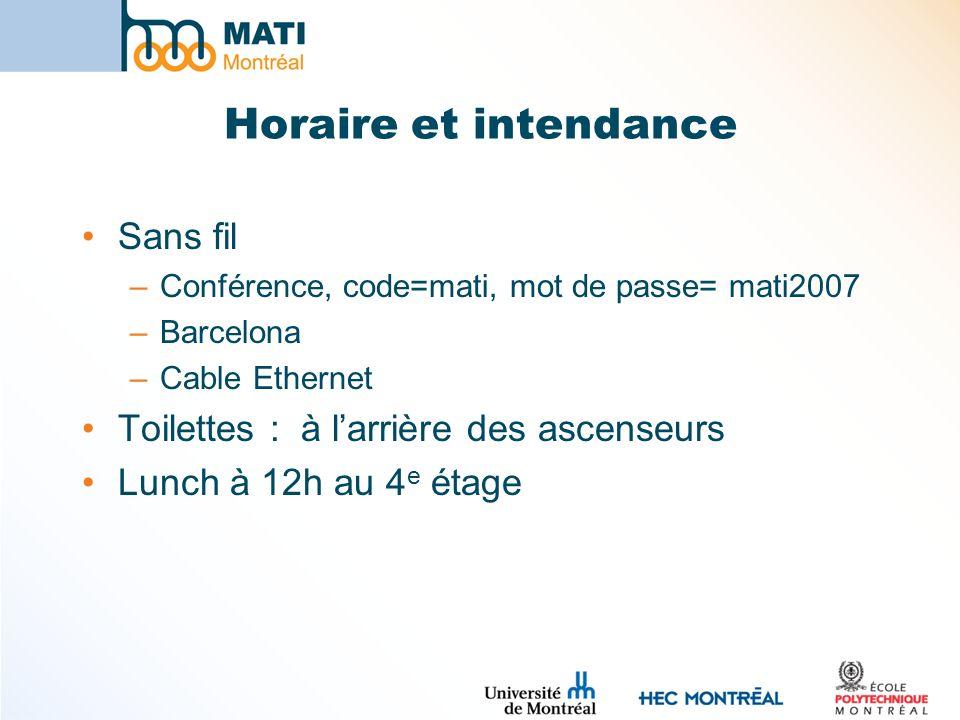 Horaire et intendance Sans fil –Conférence, code=mati, mot de passe= mati2007 –Barcelona –Cable Ethernet Toilettes : à larrière des ascenseurs Lunch à 12h au 4 e étage