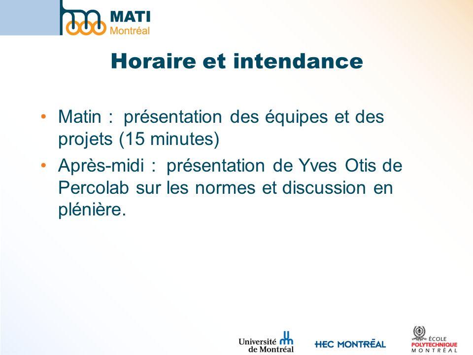 Horaire et intendance Matin : présentation des équipes et des projets (15 minutes) Après-midi : présentation de Yves Otis de Percolab sur les normes et discussion en plénière.