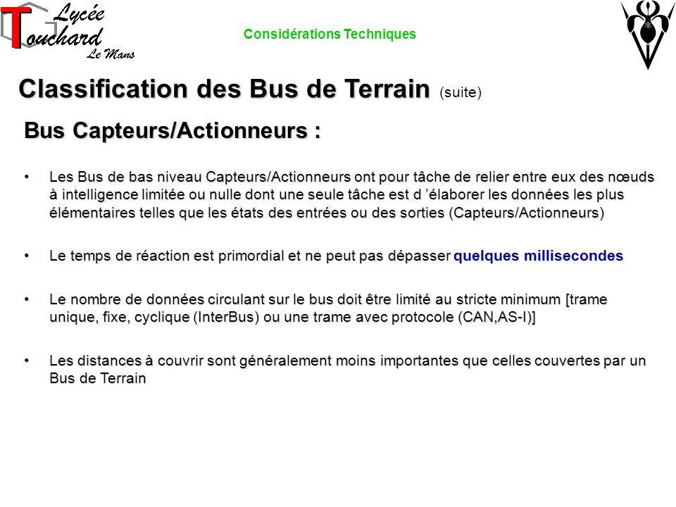 Bus Capteurs/Actionneurs : Les Bus de bas niveau Capteurs/Actionneurs ont pour tâche de relier entre eux des nœuds à intelligence limitée ou nulle don