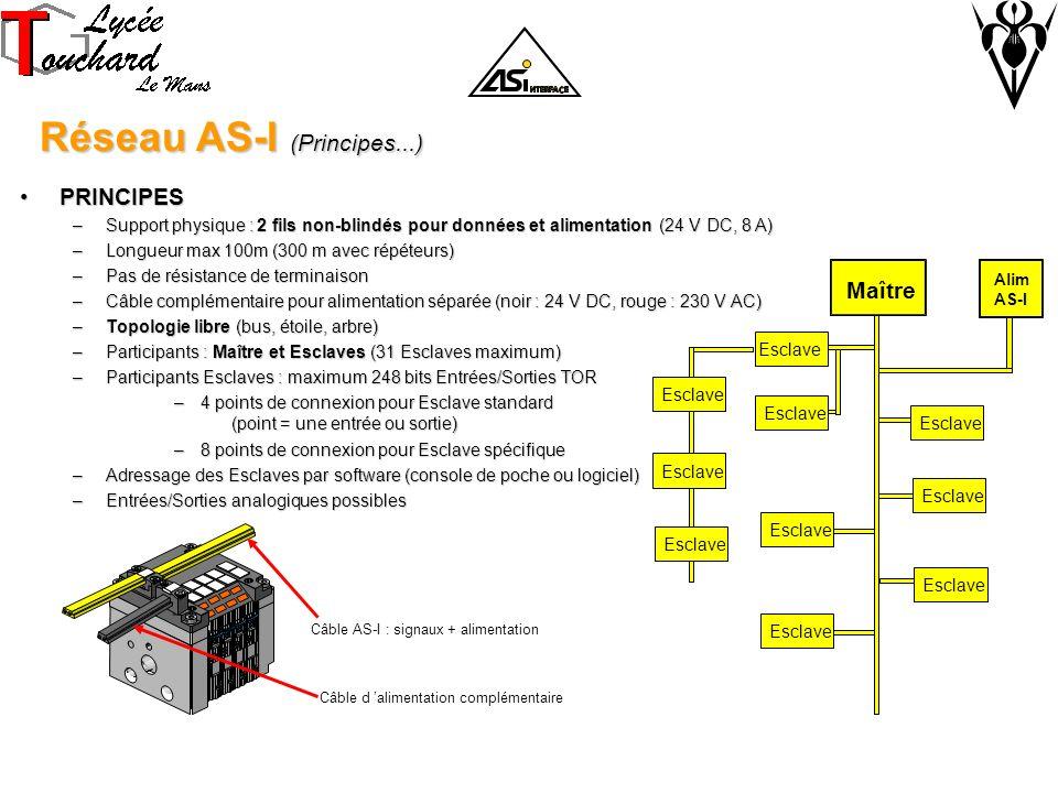 Réseau AS-I (Principes...) Réseau AS-I (Principes...) PRINCIPESPRINCIPES –Support physique : 2 fils non-blindés pour données et alimentation (24 V DC, 8 A) –Longueur max 100m (300 m avec répéteurs) –Pas de résistance de terminaison –Câble complémentaire pour alimentation séparée (noir : 24 V DC, rouge : 230 V AC) –Topologie libre (bus, étoile, arbre) –Participants : Maître et Esclaves (31 Esclaves maximum) –Participants Esclaves : maximum 248 bits Entrées/Sorties TOR –4 points de connexion pour Esclave standard (point = une entrée ou sortie) –8 points de connexion pour Esclave spécifique –Adressage des Esclaves par software (console de poche ou logiciel) –Entrées/Sorties analogiques possibles Câble d alimentation complémentaire Câble AS-I : signaux + alimentation Esclave Maître Esclave Alim AS-I Esclave