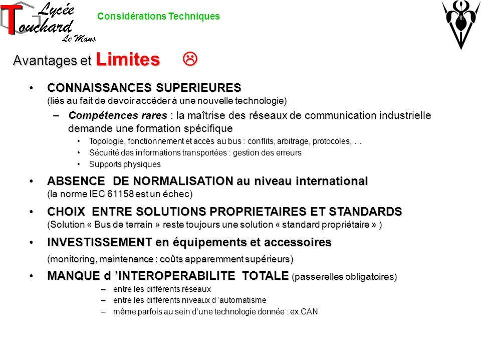 Avantages et Limites Avantages et Limites CONNAISSANCES SUPERIEURES (liés au fait de devoir accéder à une nouvelle technologie)CONNAISSANCES SUPERIEUR