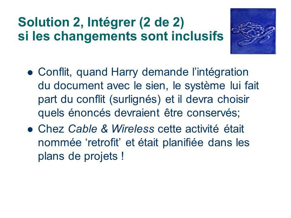 Solution 2, Intégrer (2 de 2) si les changements sont inclusifs Conflit, quand Harry demande lintégration du document avec le sien, le système lui fai