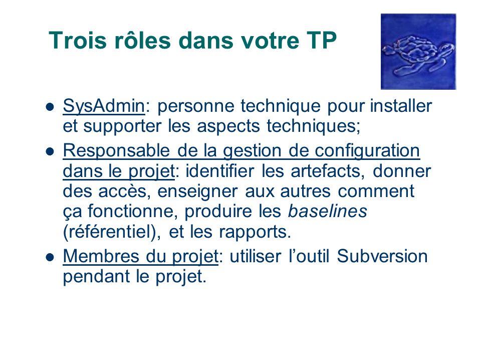 Trois rôles dans votre TP SysAdmin: personne technique pour installer et supporter les aspects techniques; Responsable de la gestion de configuration
