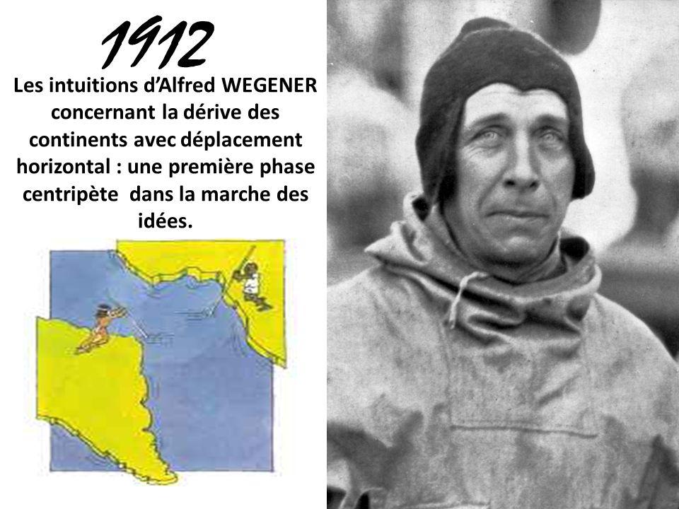1912 Les intuitions dAlfred WEGENER concernant la dérive des continents avec déplacement horizontal : une première phase centripète dans la marche des