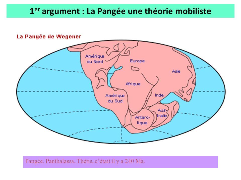 1 er argument : La Pangée une théorie mobiliste Pangée, Panthalassa, Thétis, cétait il y a 240 Ma.