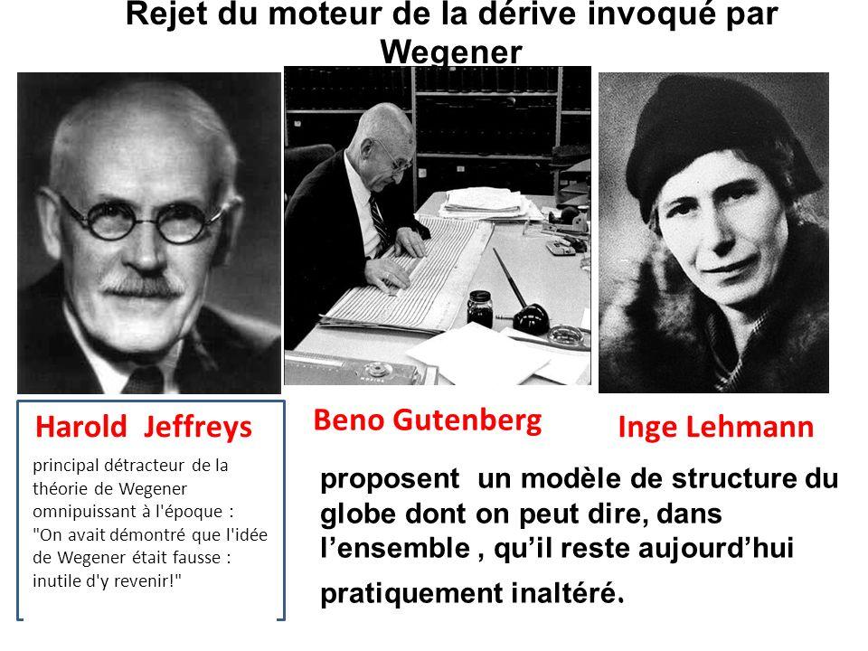 Harold Jeffreys Rejet du moteur de la dérive invoqué par Wegener Inge Lehmann Beno Gutenberg proposent un modèle de structure du globe dont on peut di