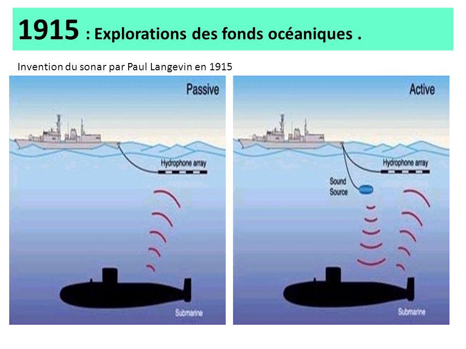 1915 : Explorations des fonds océaniques. Invention du sonar par Paul Langevin en 1915