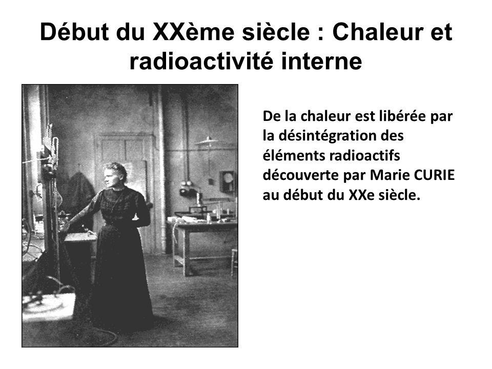 Début du XXème siècle : Chaleur et radioactivité interne De la chaleur est libérée par la désintégration des éléments radioactifs découverte par Marie