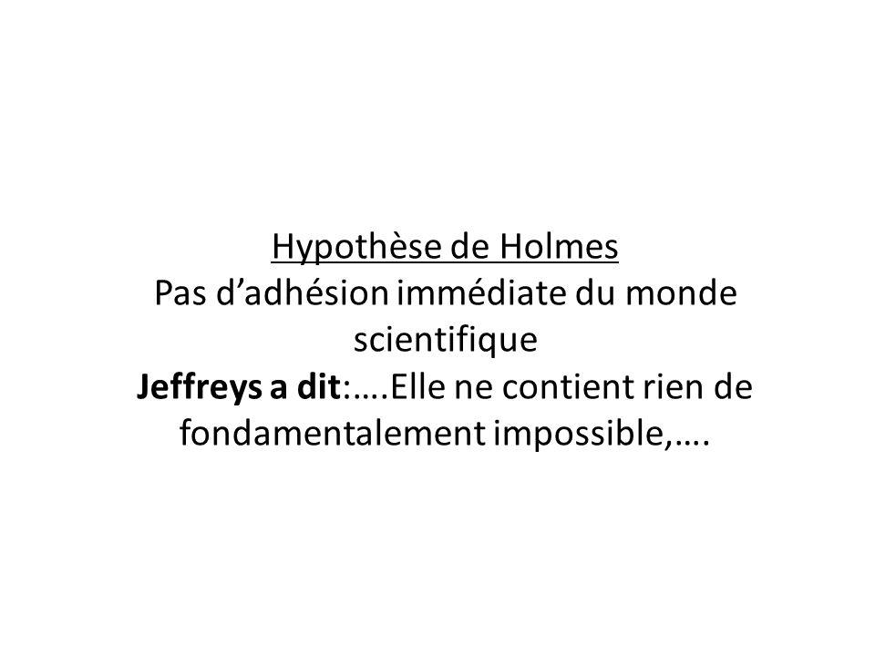 Hypothèse de Holmes Pas dadhésion immédiate du monde scientifique Jeffreys a dit:….Elle ne contient rien de fondamentalement impossible,….