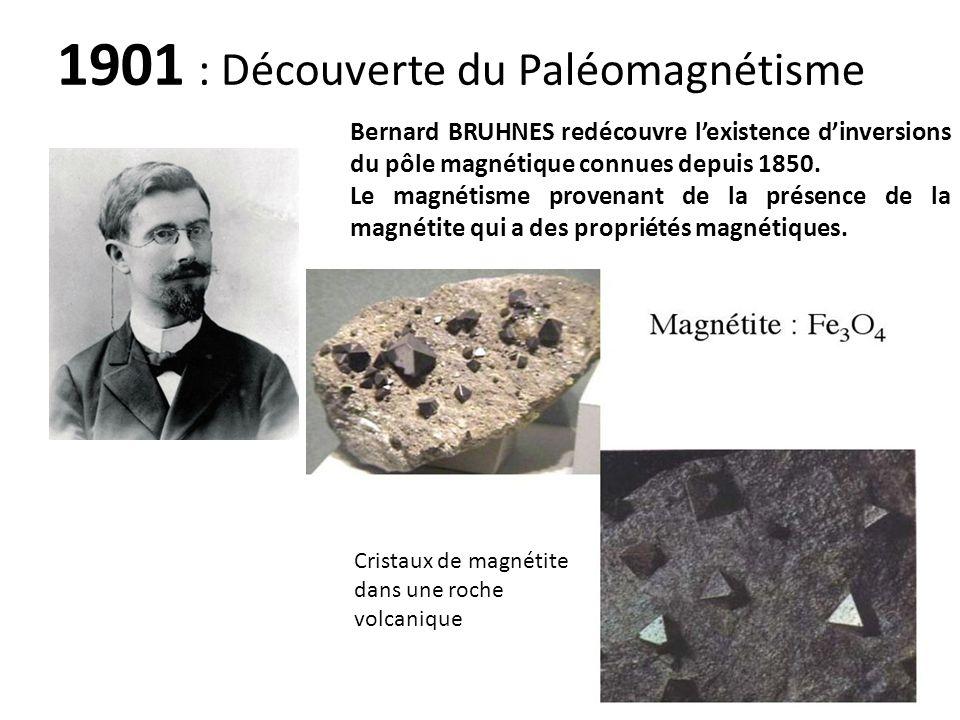 Bernard BRUHNES redécouvre lexistence dinversions du pôle magnétique connues depuis 1850. Le magnétisme provenant de la présence de la magnétite qui a