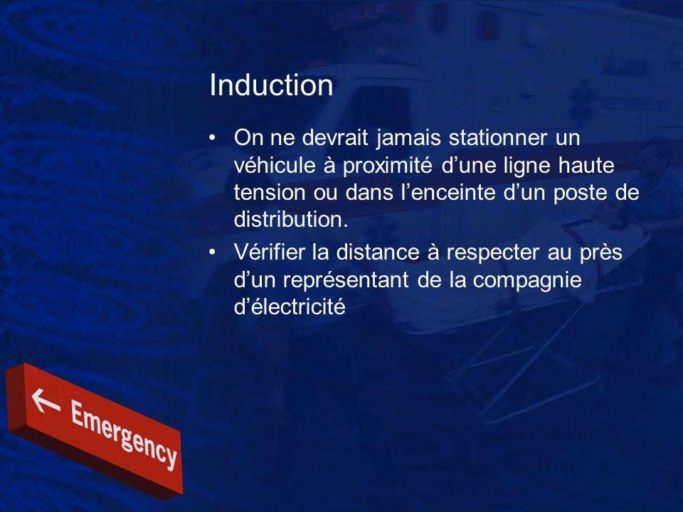 Induction On ne devrait jamais stationner un véhicule à proximité dune ligne haute tension ou dans lenceinte dun poste de distribution. Vérifier la di