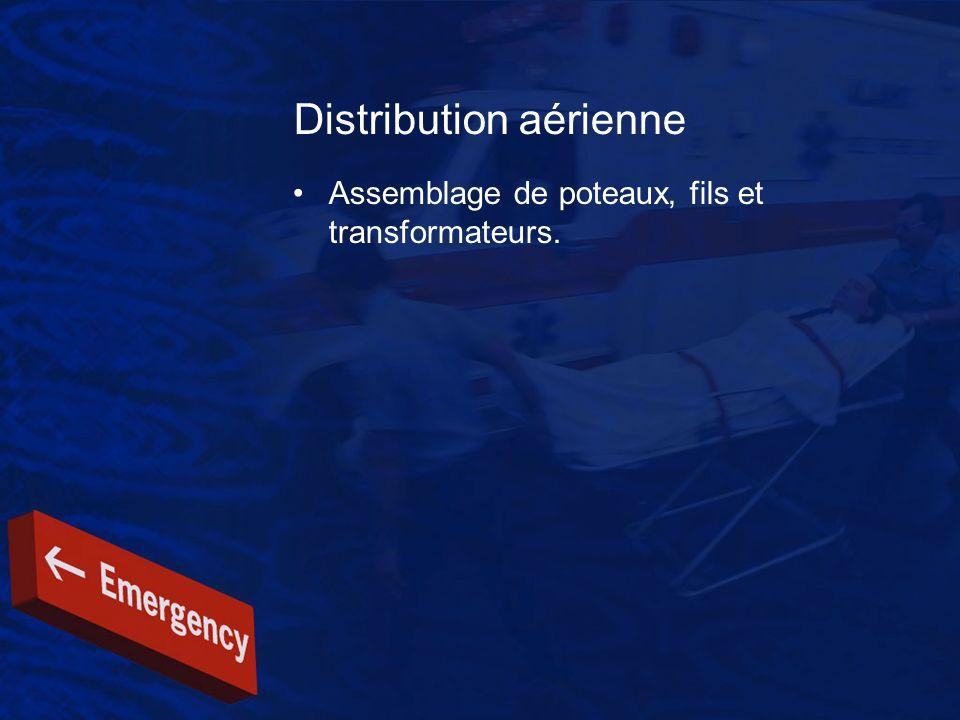 Distribution aérienne Assemblage de poteaux, fils et transformateurs.