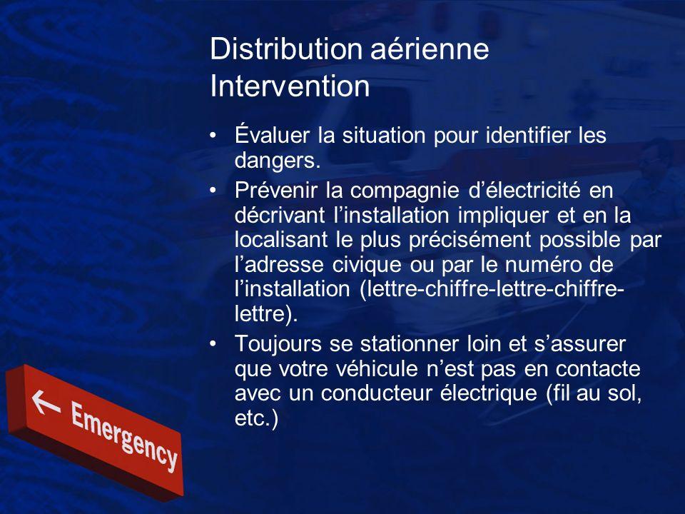 Distribution aérienne Intervention Évaluer la situation pour identifier les dangers. Prévenir la compagnie délectricité en décrivant linstallation imp
