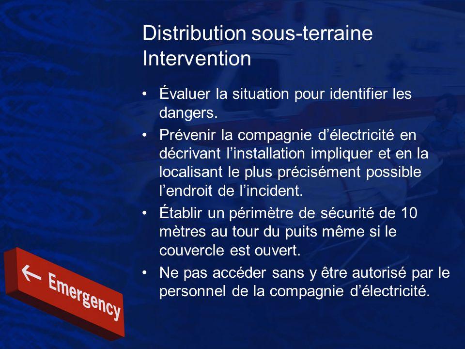 Distribution sous-terraine Intervention Évaluer la situation pour identifier les dangers. Prévenir la compagnie délectricité en décrivant linstallatio
