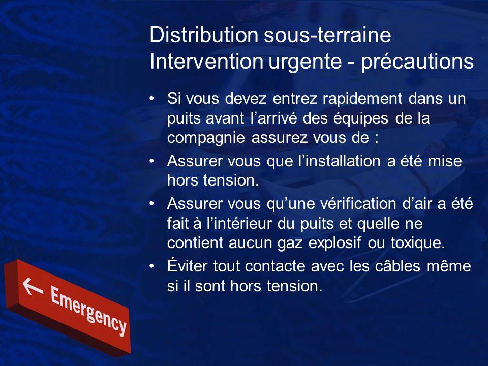 Distribution sous-terraine Intervention urgente - précautions Si vous devez entrez rapidement dans un puits avant larrivé des équipes de la compagnie
